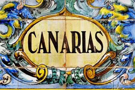 canarias: Canarias, the spanish name of Canary Islands, Spain, written on tiles Stock Photo