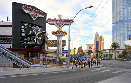 Las Vegas, US - October 11, 2011: Harley Davidson Cafe in The Strip in Las Vegas, US. In the facade there is a 7.1:1 scale replica Sportster weighing 1,200 lbs and measuring 32 feet