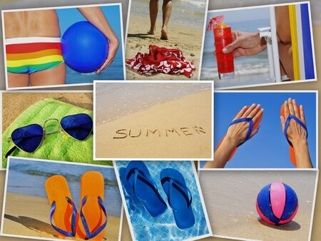 a collage of nine pictures of many beach items and scenes in the summer photo
