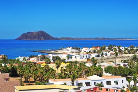 a view of Lobos Island from Corralejo in Fuerteventura, Canary Islands, Spain Stock Photo - 14347522