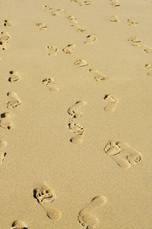 sand mold: a lot of footprints in all directions in the sand of a beach Stock Photo