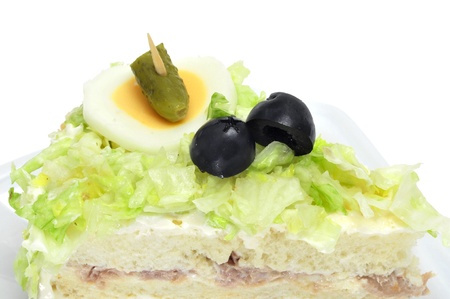 closeup of a vegetables and tuna sandwich on a white background photo