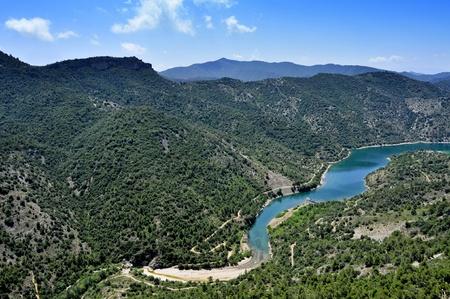meanders: aerial view of Siurana River in Tarragona Province, Spain
