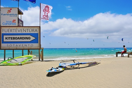 Fuerteventura, Spain - June 22, 2012: Sotavento Beach in Fuerteventura, Canary Islands, Spain. The Windsurfing and Kiteboarding World Cup is held every year in this beach