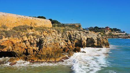 back side view of Forti de la Reina and the coast of Tarragona, Spain Stock Photo - 14586633