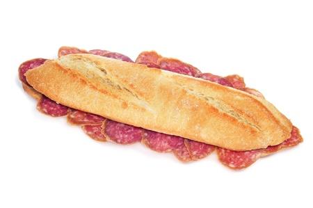 llonganissa: spanish salami sandwich on a white background