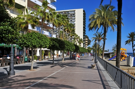 beach front: Marbella, Spain - March 13, 2012: Seafront at Venus Beach in Marbella, Spain. Marbella, with 27 km of coastline, has a Seafront about 7 km length Editorial