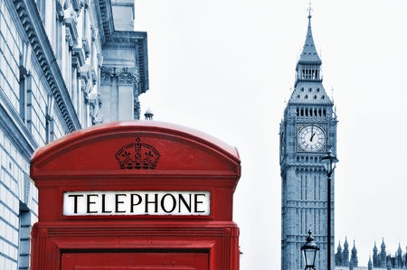 a view of Big Ben and a classic red phone box in London, United Kingdom photo