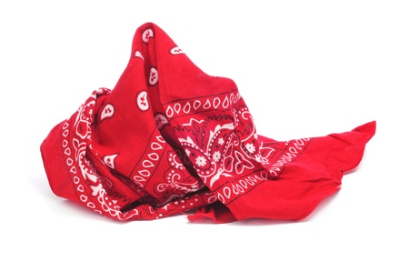 paisley patterned red bandana on a white white background photo