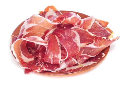 jamon: closeup of a plate with spanish serrano ham served as tapas
