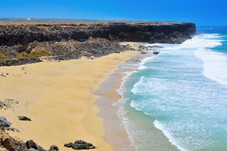 view of Aljibe de la Cueva Beach in El Cotillo, Fuerteventura, Canary Islands, Spain Stock Photo - 14739552