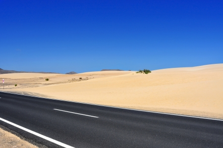 a view of Natural Park of Dunes of Corralejo in Fuerteventura, Canary Islands, Spain Stock Photo - 14739442
