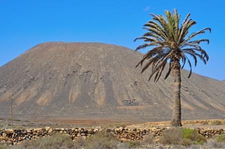 site: view of Tindaya Mountain in La Oliva, Fuerteventura, Canary Islands, Spain Stock Photo