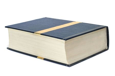 broadside: closeup of a thick book on a white background Stock Photo