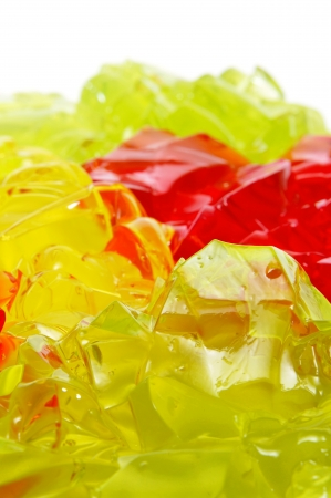 closeup of gelatin of different colors on a white background photo