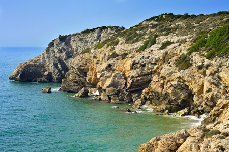 garraf: view of southern coast of Sitges, Spain Stock Photo