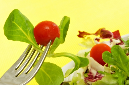 cornsalad: closeup of a plate of salad with cherry tomatoes on a yellow background