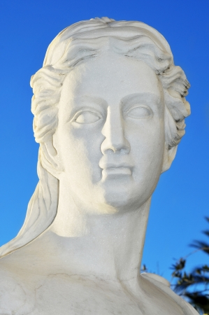 closeup of the face of a classical statue photo
