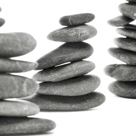 a pile of balanced zen stones on a white background Stock Photo - 14947817
