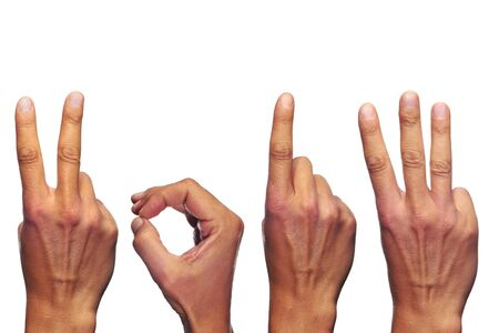 man hands forming number 2013 on a white background  photo