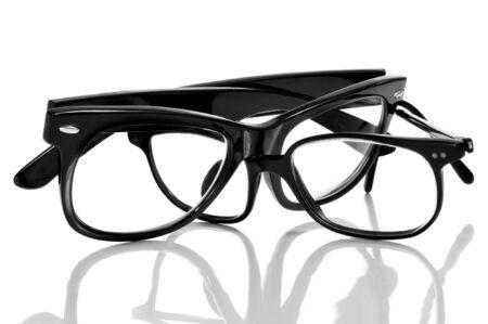 black glasses on a white background Stock Photo - 14980257