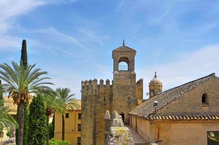 of homage: Tower of Homage and North wall of Alcazar de los Reyes Cristianos in Cordoba, Spain
