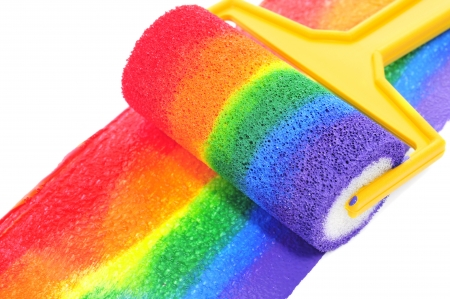 a rainbow painted with a paint roller on a white background photo