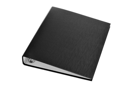 a black ring binder on a white background photo