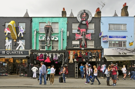 bric: London, UK - May 8, 2011: Camden High St in London. Camden Market and streets nearby are the fourth-most popular visitor attraction in London, attracting approximately 100,000 people each weekend