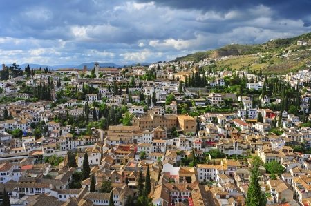 carmen: a view of Albaicin and Sacromonte districts in Granada, Spain Stock Photo