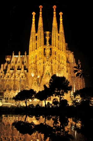 Barcelona, Spain - August 15, 2012: Sagrada Familia at night in Barcelona, Spain. The impressive cathedral designed by Antoni Gaudi is being built since 1882 and is not finished yet Stock Photo - 15180229