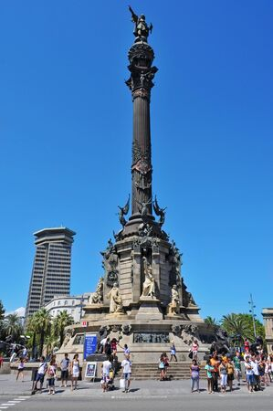 christopher columbus: Barcelona, Spain - August 16, 2012: Columbus Monument in Barcelona, Spain. It is a 60 meters tall monument for Christopher Columbus at the lower end of La Rambla