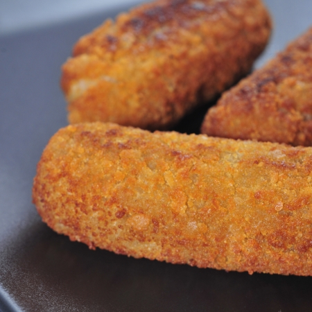closeup of plate with spanish croquettes served as tapas photo