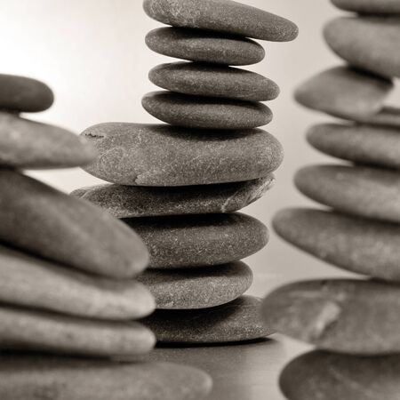 closeup of some piles of balanced zen stones Stock Photo - 15231330
