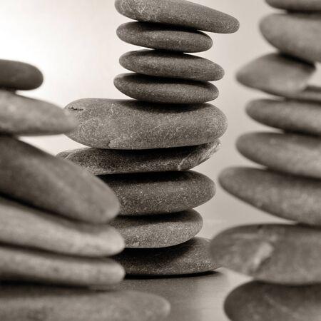 karesansui: closeup of some piles of balanced zen stones