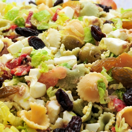 pasta salad: closeup of a plate with refreshing pasta salad Stock Photo