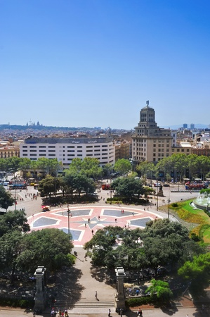Barcelona, Spain - August 17, 2012: Aerial view of Placa Catalunya in Barcelona, Spain. This square is considered to be the city center and some of the most important streets meet there