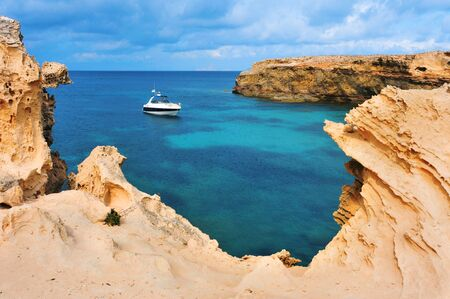 view of Punta de Sa Pedrera coast in Formentera, Balearic Islands, Spain photo