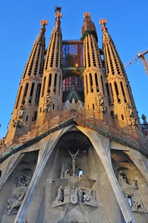 Barcelona, Spain - August 15, 2012: Sagrada Familia in Barcelona, Spain. The impressive cathedral designed by Antoni Gaudi is being built since 1882 and is not finished yet