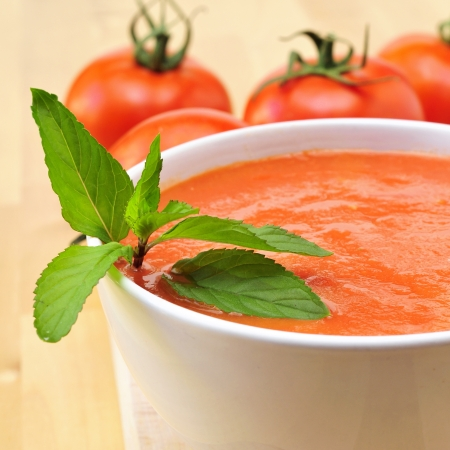 closeup of a bowl with delicious spanish gazpacho photo