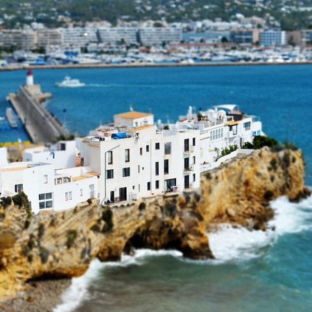 faked: faked tilt shift view of Sa Penya District in Ibiza Town, Balearic Islands, Spain Stock Photo