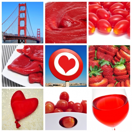 a collage of nine pictures of different red things, as the Golden Bridge, tomato sauce, baby plum tomatoes, Piquillo peppers, a heart sign, strawberries, a heart-shaped balloon or red wine Stock Photo - 15567443