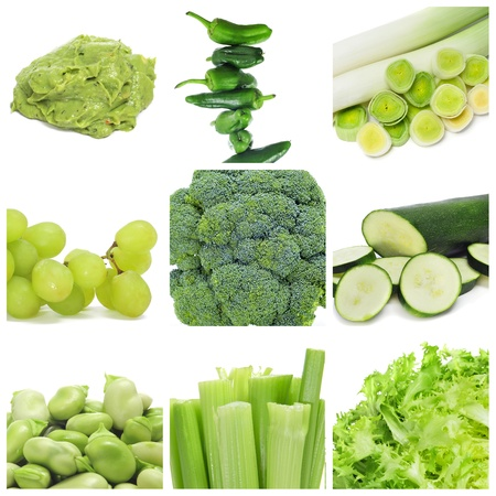collage of nine different green food, as guacamole, peppers, leeks, grapes, broccoli, zucchini, broad beans, celery and escarole endive Stock Photo - 15567438