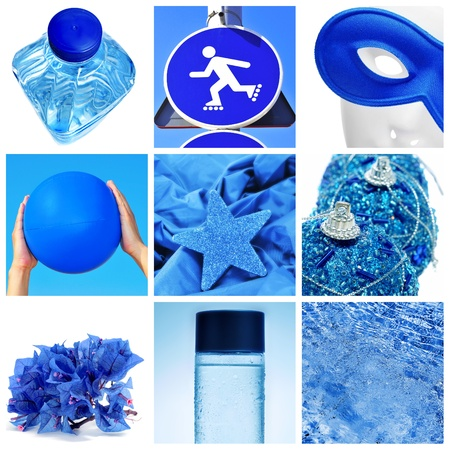 a collage of nine pictures of different blue things, as a water bottle, a traffic sign, a carnival mask, a beach ball, some christmas ornaments, some flowers or water Stock Photo - 15567447