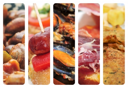 marinara: a collage of nine pictures of different spanish tapas and dishes, as escargots, sausage and pepper pintxos, mejillones in marinara sauce, serrano ham and cod fritters