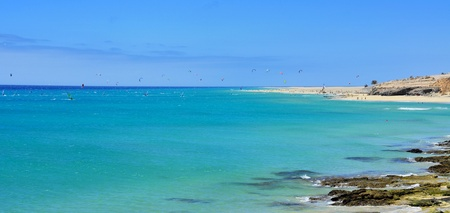 view of Sotavento Beach in Fuerteventura, Canary Islands, Spain, a great destination for windsurfing and kitesurfing photo
