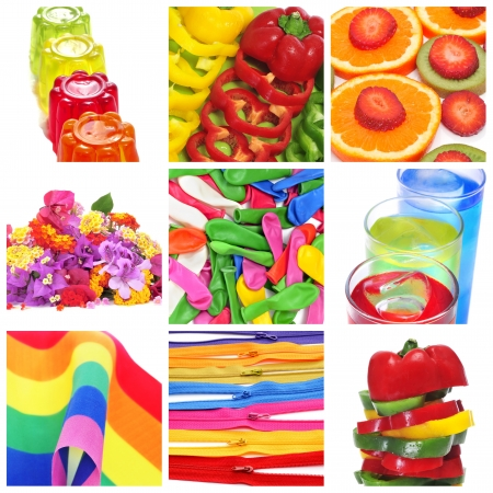 colorfulness: a collage of nine pictures of colorful things of different colors, as gelatine, peppers, fruits, flowers, balloons, cocktails or the rainbow flag Stock Photo