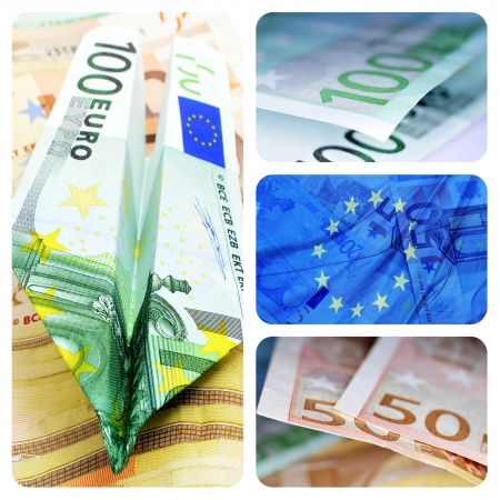 market crash: collage of four pictures of euro bills and european union flag