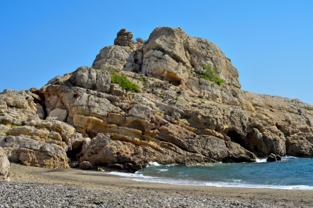 the dorada: View of Illot del Torn and the remains of an old watchtower in Torn Beach, in Hospitalet del Infant, Spain