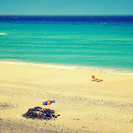 nombre: view of Mal Nombre Beach in Fuerteventura, Canary Islands, Spain, with a retro effect Stock Photo
